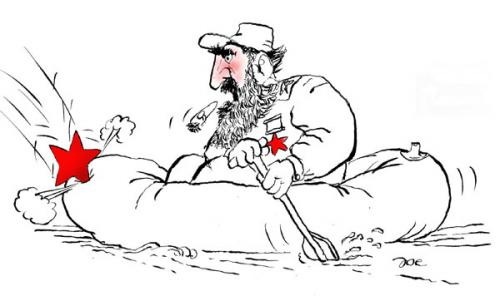 Cartoon: Fidel (medium) by bekesijoe tagged cartoon,,kommunismus,fidel castro,kuba,revolution,kapitalismus,diktator,roter stern,havanna,schlauchboot,kämpfer,marxismus,kalter krieg,usa,schiffsblokade,abwehrraketen,russland,fidel,castro,roter,stern,kalter,krieg