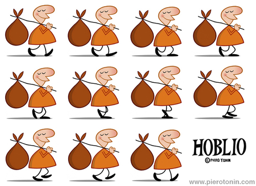 Cartoon: Hoblio (medium) by Piero Tonin tagged piero,tonin,hoblio,cartoon,cartoons,animation,animated,anime,character,characters,design,walk,walking,cycle,2d,traditional,classic