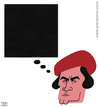 Cartoon: Kazimir Malevich (small) by Piero Tonin tagged kazimir,malevich,black,square,schwarzes,quadrate,100th,100,years,anniversary,1914,2014,russian,artist,painter,russia,art,painting,paintings,artists,painters,suprematism,suprematist