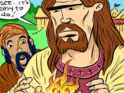 Cartoon: jesus at the circus (medium) by monsterzero tagged jesus,humor,miracles,
