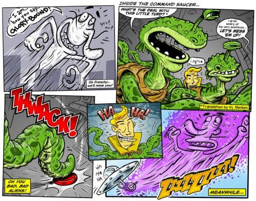 Cartoon: THWACK! (medium) by monsterzero tagged aliens,death,afterlife,flying,saucer,