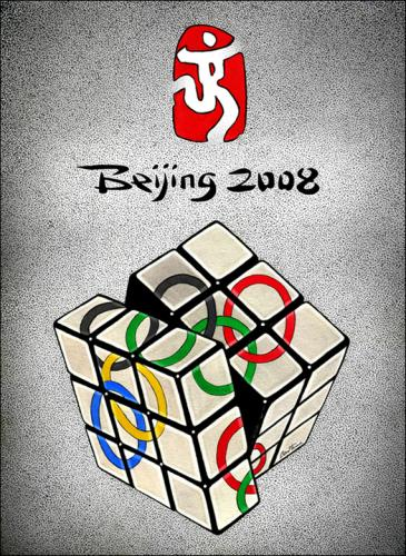 Cartoon: Beijing 2008 (medium) by BenHeine tagged beijing,2008,olympic,games,mike,wootton,china,human,rights,tibet,sport,jeux,olympiques,greek,rubiks,cube,rubix,casse,tete,chine,ben,heine,flame,torch,colors,sportsmanship,athletes,medal,politicize,politics,freedom,censure,dalai,lama
