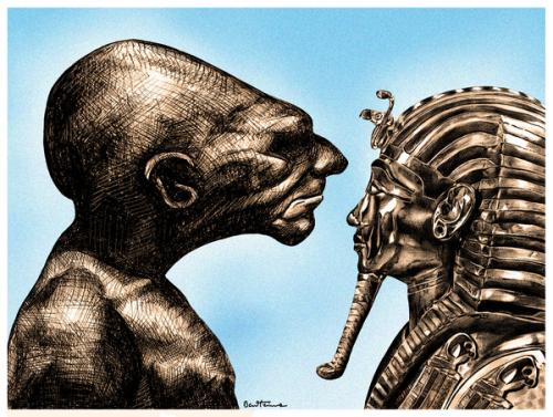 Cartoon: Can You be the One (medium) by BenHeine tagged asburyseminary,human,condition,egypt,pharaoh,culture,empire,nile,glance,look,defiance,regard,pharaon,the,one,interrogation,request,sepia,ancestors,roots,hatred,love,question,challenge,mask,ben,heine,