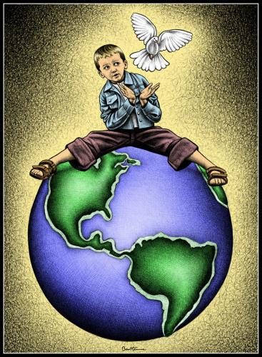 Cartoon: Child Of The Universe (medium) by BenHeine tagged child,dove,earth,birth,peace,soul,alexander,aleksandr,bondarowicz,childoftheuniverse,eplosion,world,continents,lava,blue,terre,paix,enfant,kinder,nature,sea,mer,green,hold,colombe,astonish,surprise,youth,hope,future,fly,sandale,dzieczi,poem,