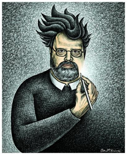 Cartoon: David Baldinger (medium) by BenHeine tagged davidbaldinger,peoplesweeklyworld,benheine,irancartoon,drawer,interview,freedomofexpression,friend,disappear,glasses,pencil,bic,hachure,self,portrait,beard,dragonball,longhair,