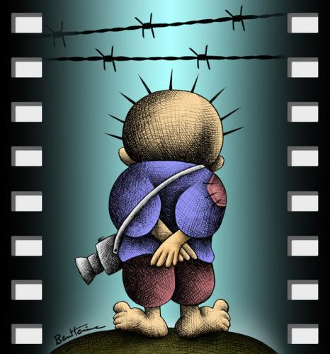 Cartoon: Handala Witness (medium) by BenHeine tagged mohammed,omer,rafah,today,handala,photographer,palestinian,symbol,palestine,israel,photo,roll,photography,camera,alone,sole,solely,tragedy,homeless,families,witness,barbled,wire,fils,barbeles