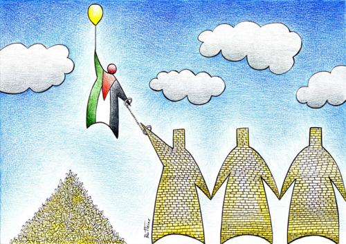 Cartoon: Longing For Freedom (medium) by BenHeine tagged apartheid,wall,gaza,westbank,israel,palestine,peace,benheine,war,sky,fly,simplicity,freedom,liberty,liberte,mur,concrete,family,children,crime,territory,territoire,barbedwire,brick,stone,divided,people,politics,battle,mourning,