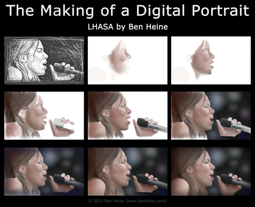 Cartoon: Making of - Lhasa de Sela (medium) by BenHeine tagged tutorial,by,step,of,making,song,chant,sing,micro,voice,tribute,france,canada,us,mexico,talent,woman,cancer,breast,songwriter,chanteur,singer,sketch,drawing,sela,de,lhasa