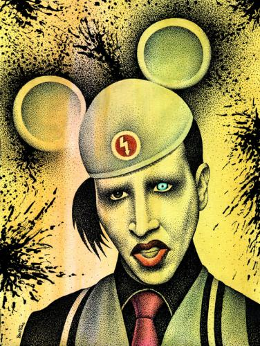 Cartoon: Marilyn Manson  - 2 - (medium) by BenHeine tagged marilynmanson,manson,brianhughwarner,hugh,warner,usa,american,crazyness,cry,shout,balls,outrageous,image,artist,watercolor,singer,child,logo,band,rock,punk,charles,marilyn,monroe,ink,black,metal,music,grammy,award,germany,poland,musique,mobscene,ma
