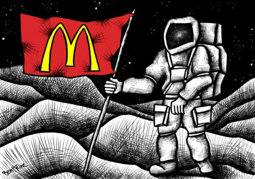 Cartoon: McDonaldization (medium) by BenHeine tagged globalization,mcdonalds,mcdonaldization,ronaldmcdonald,fastfood,junkfood,spationaute,taikonaute,cosmonaute,space,invasion,consumerism,quick,moon,mars,planet,future,americanization,usa,restaurant,money,technology,world,cultures,rich,south,