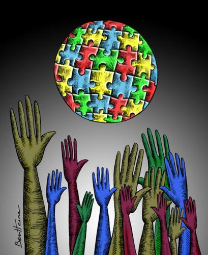 Cartoon: New World (medium) by BenHeine tagged immigration,colour,world,planet,benheine,security,hand,arm,harm,hold,jump,throw,migration,save,puzzle,jigsaw,mysterious,land,earth,fingers,dark,sombre,contrast,