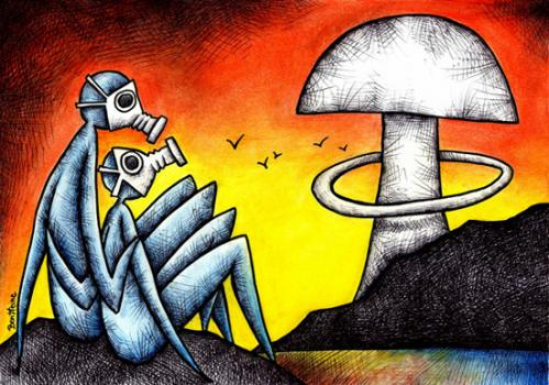 Cartoon: Nuclear Love (medium) by BenHeine tagged nuclear,power,energy,fission,fusion,explosion,mask,gaz,love,beings,cloud,birds,mushroom,gasmask,future,modern,benheine,art,traditional,painting,champignon,kern,amour,blast,peace,war,lake,water,pollution,umweltverschmutzung,bodies,flesh,radiation,disease,