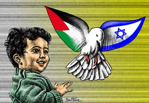 Cartoon: Peace Now (medium) by BenHeine tagged palestine,peace,now,israel,occupation,expansionism,zionism,dove,child,innocence,hope,future,