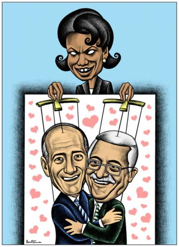 Cartoon: Puppets For Peace (medium) by BenHeine tagged georgewbush,annapolisconference,arabnews,benheine,cartoons,condoleezarice,ehudolmert,israel,mahmoudabbas,middleeast,negotiations,palestine,peace,puppets,marionnette,heart,coeur,love,usa,jeu,game,hypocrisy,play,