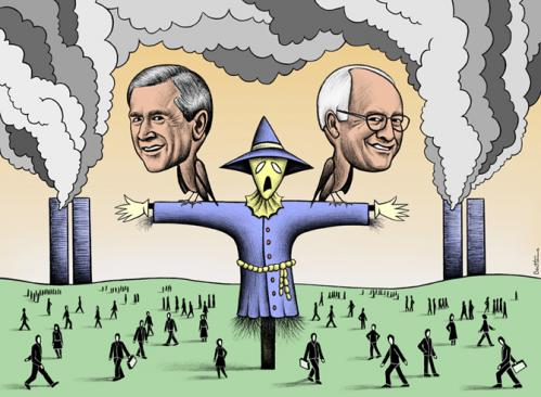 Cartoon: Securing the Homeland (medium) by BenHeine tagged mikepalecek,cartoon,iowa,terror,shortnovel,georgewbush,fundamentalism,hoodonthescarecrow,extremism,usa,uspolicy,iowanstate,911,dickcheney,world,tradecenter,garden,caricature,markmorford,meriaheller,fiction,benheine,