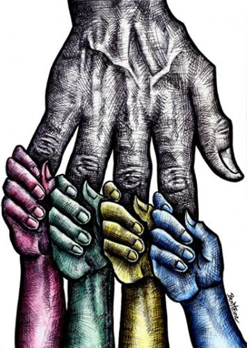 Cartoon: Solidarity (medium) by BenHeine tagged solidarity,help,colours,origins,hand,love,hatred,benetton,skin,peau,couleurs,colors,united,together,hold,tenir,amour,peace,world,ensemble,fingers,main,tomorrow,palm,blue,yellow,red,green,hopes,origin,always,child,enfant,future,progeny,ofspring