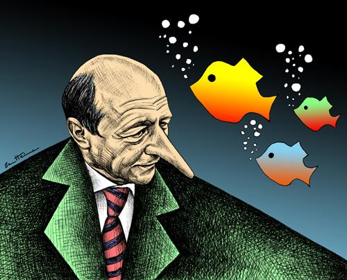 Cartoon: Traian Basescu (medium) by BenHeine tagged traian,basescu,europe,america,romania,bucharest,president,question,caricature,nose,fish,eyes,ben,heine,country,