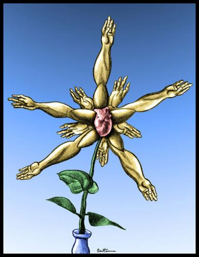 Cartoon: Waiting to Bloom (medium) by BenHeine tagged anatomy,hand,arm,bras,main,corps,body,human,surreal,rose,heart,leaf,dada,crazy,fleur,rise,grow,grandir,petale,pedal,daisy,colors,bloom,bright,skin,science,free,faller,poem,muscle,fingers,atom,explosion,blast,