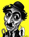 Cartoon: Charlie Chaplin (small) by BenHeine tagged charlie chaplin legend usa humour the dictator film actor mime mise en abime comique laugh acteur icon charlot character uniform costume fake identity modest funny drole unique makeup personnage fiction movie entertainment ben heine controverse caricature