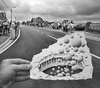 Cartoon: Pencil Vs Camera - 45 (small) by BenHeine tagged pencil,vs,camera,drawing,photography,benheine,art,theartistery,blackandwhite,paper,hand,illusion,road,street,belgium,braives,bubbles,balls,boules,surrealism,hole,trou,makadam,people,crowd,layer,couche