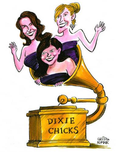 Cartoon: Dixie Chicks (medium) by Christo Komarnitski tagged music,entertainment,celebrities,