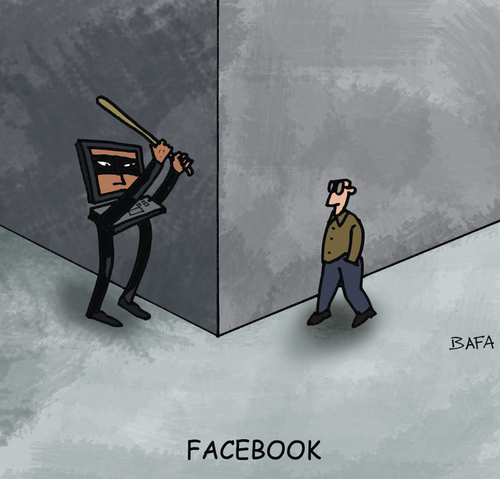 Cartoon: Facebook (medium) by Farhad Foroutanian tagged media