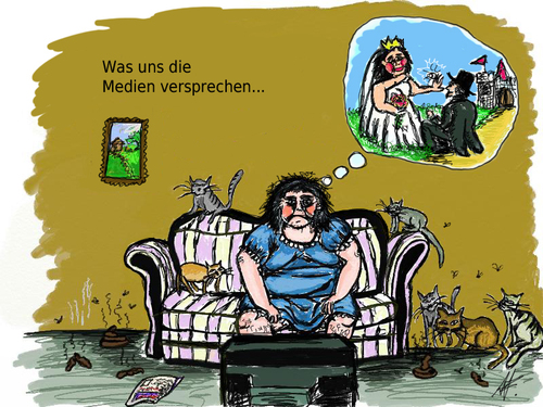Cartoon: Medienmanipulation (medium) by Anitschka tagged medien,manipulation,fernseher,tv,kommerz