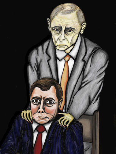 Cartoon: Medwedew und  Putin (medium) by Anitschka tagged medwedew,putin