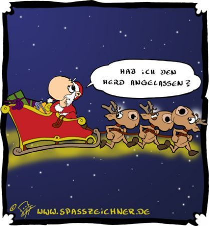 Cartoon: Herd angelassen (medium) by Clemens tagged weihnachtsmann,weihnachten,rentierschlitten