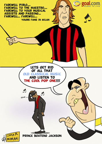 Cartoon: A Farewell to Pirlo (medium) by omomani tagged pirlo,galliani,kevin,prince,boateng,michael,jackson,ac,milan