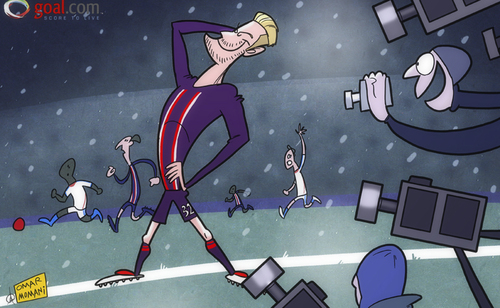 Cartoon: All eyes on Beckham in PSG bow (medium) by omomani tagged david,beckham,ibrahimovic,ligue,marseille,paris,saint,germain