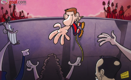Cartoon: Barcelona turn to Messi (medium) by omomani tagged ac,milan,barcelona,champions,league,iniesta,messi,pique,puyol
