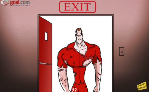 Cartoon: Carragher heads for Anfield exit (medium) by omomani tagged jamie,carragher,liverpool