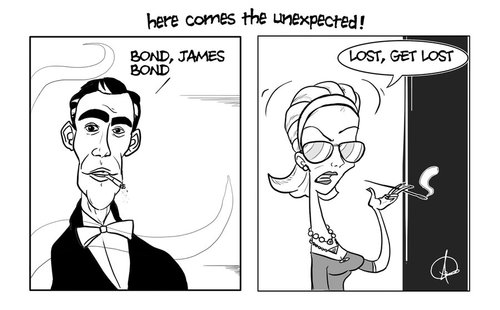 Cartoon: here comes the unexpected (medium) by omomani tagged james,bond,007,sean,connery