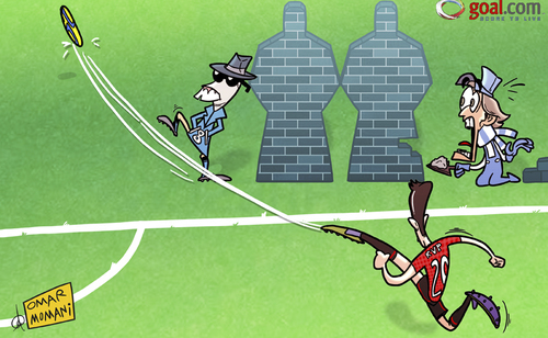 Cartoon: Invisible man Samir Nasri (medium) by omomani tagged manchester,city,derby,united,mancini,nasri,premier,league,van,persie