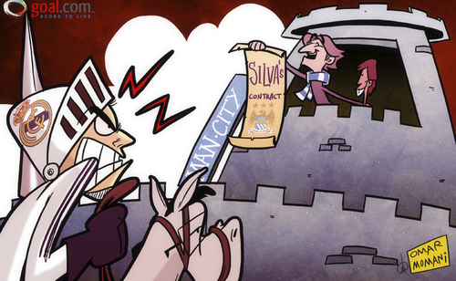 Cartoon: Mancini keeps Silva safe (medium) by omomani tagged david,silva,manchester,city,mancini,mourinho,perez,real,madrid