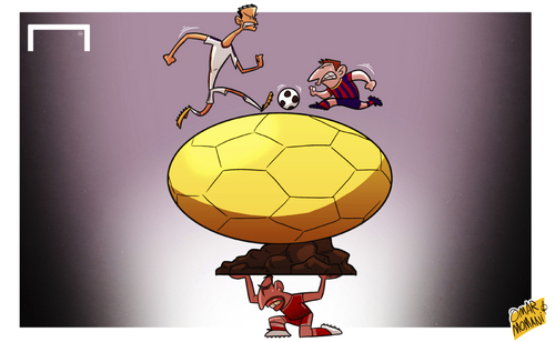 Cartoon: Messi and Ronaldo last chance (medium) by omomani tagged barcelona,bayern,munich,clasico,cristiano,ronaldo,fifa,ballon,dor,la,liga,messi,real,madrid,ribery