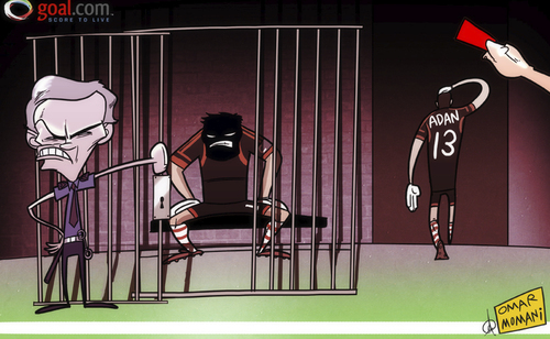 Cartoon: Mourinho and Casillas (medium) by omomani tagged prison,mourinho,liga,la,casillas,adan,antonio,real,madrid