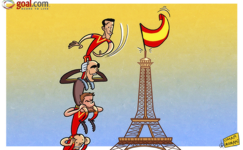 Cartoon: Pedro flies the flag (medium) by omomani tagged eiffel,tower,france,iniesta,pedro,spain,victor,valdes,world,cup,qualifications,xabi,alonso