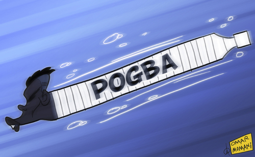 Cartoon: Pogba the Torpedo (medium) by omomani tagged juventus,pogba,serie,torpedo