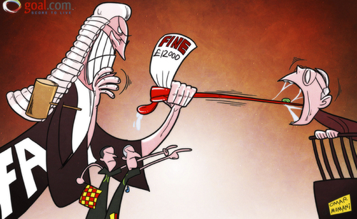 Cartoon: Sir Alex tongue tied by FA (medium) by omomani tagged ferguson,manchester,united,simon,beck