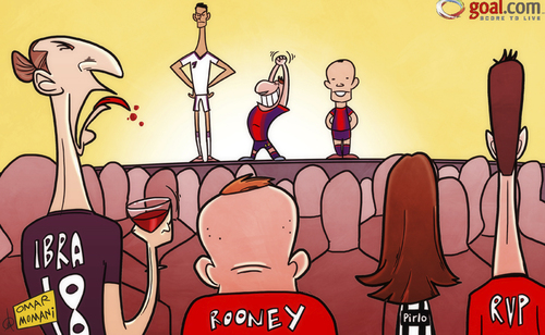 Cartoon: Sour grapes for Zlatan over Mess (medium) by omomani tagged barcelona,cristiano,ronaldo,fifa,ballon,or,ibrahimovic,iniesta,juventus,manchester,united,messi,paris,saint,germain,pirlo,real,madrid,rooney,van,persie,wine