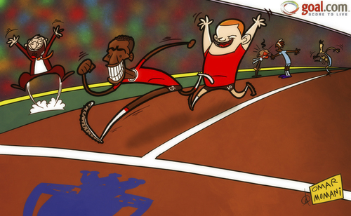 Cartoon: sprint for the finish (medium) by omomani tagged aguero,antonio,valencia,balotelli,england,ferguson,manchester,city,united,mancini,premier,league,rooney