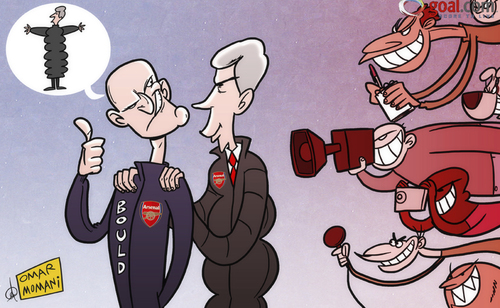 Cartoon: Wenger and Bould display united (medium) by omomani tagged wenger,steve,bould,arsenal