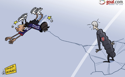 Cartoon: Wenger on thin ice after Arsenal (medium) by omomani tagged arsenal,bradford,city,figure,skating,gervinho,league,cup,marouane,chamakh