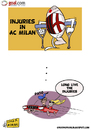 Cartoon: AC Milans injuries (small) by omomani tagged ac,milan,pato,barbara,berlusconi,brazil,italy,serie