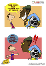 Cartoon: Pele Movie and Messi (small) by omomani tagged argentina,barcelona,brazil,dvd,film,la,liga,messi,movie,pele,spain