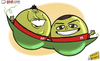 Cartoon: Two peas in a pod (small) by omomani tagged javier,hernandez,balcazar,chicharito,manchester,united,pea,premier,league,van,persie