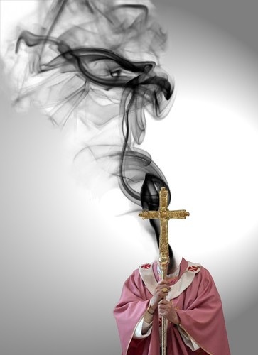 Cartoon: Burn out of pope Benedict XVI (medium) by willemrasingart tagged pope