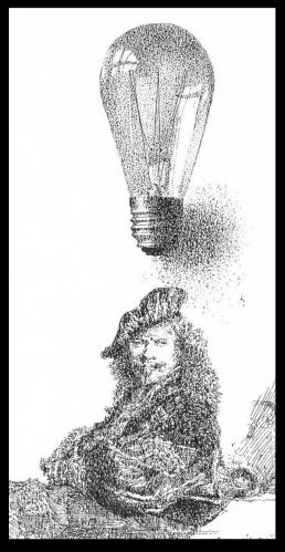 Cartoon: Rembrandts light (medium) by willemrasingart tagged rembrandt,